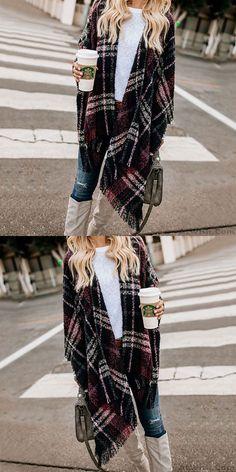 Leisure Contrast Color Lattice Tassel Shawl Knitting Coat Sweater #sweater #tassel Angora Sweater, Loose Sweater, Sweater Coats, Sweater Cardigan, Thick Sweaters, Winter Sweaters, Women's Sweaters, Cardigans For Women, Coats For Women