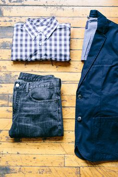 Dark jeans, a gingham button-down, and an unstructured blazer is the perfect spring outfit. Shop this look from Gap.