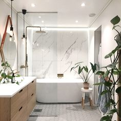 And bath, master bathroom tub, bathtub shower combo, vanity bathroom, moder Best Bathroom Designs, Modern Bathroom Design, Bathroom Interior Design, Bath Design, Modern Bathrooms, Modern Design, White Bathrooms, Rustic Design, Bathroom Ideas White