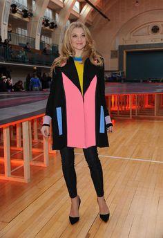 Game of Thrones cast IRL: Natalie Dormer in a color block coat by Roksanda Ilincic and black skinny jeans