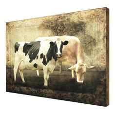 """New Primitive Country Farmhouse Chic TWO COWS PICTURE Cow Wall Hanging 24"""" #Country"""
