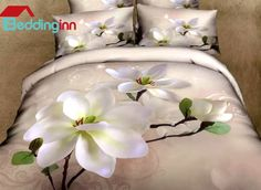 Fragrant White Magnolia Print 3D Duvet Cover Sets Buy link>>>http://urlend.com/Fnmqqa3 Live a better life, start with Beddinginn http://www.beddinginn.com/product/Fragrant-White-Magnolia-Print-4-Piece-3d-Duvet-Cover-Sets-10971849.html