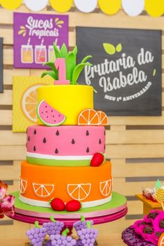 Ideas For Party Decorations Simple Birthday Fruit Birthday, 2nd Birthday Party Themes, Watermelon Birthday, Cake Birthday, Tutti Frutti, Tutti Fruity Party, Fruit Party, Party Cakes, First Birthdays