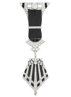 Platinum, Diamond, Black Onyx and Black Grosgrain Ribbon Lapel Watch, Van Cleef & Arpels, Paris  circa 1915.