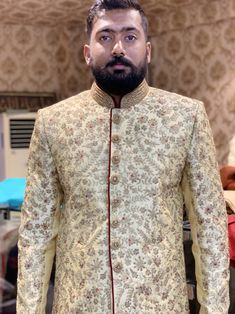 Exclusively available at Novelmen Sherwani Groom, Indian Groom Wear, Shirt Dress, Blazer, Embroidery, Mens Tops, How To Wear, Jackets, Shirts