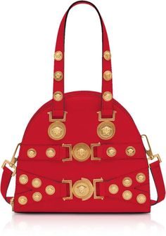 Versace Red and Gold Small Tribute Satchel Bag. Made in Italy. Sensorial  gift wrap aa1781dea16e3
