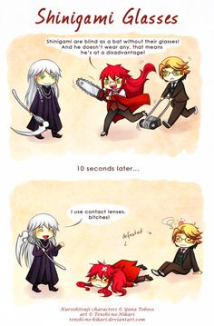 Shinigami's glasses Black Butler ~~ Grell and the Megane Theory XD hilarious. but undertaker would look so good with glasses