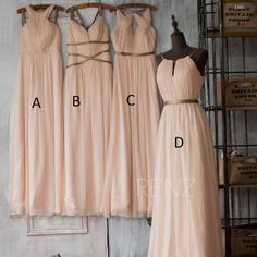 2016 Blush Bridesmaid Dress,Peach Long Prom Dress,Coral Wedding Dress,Chiffon…
