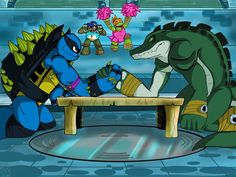 LOOK!! SLASH HAS DONNIE MASK ON HIS ARM!!! WHAT ARE THEY ARM WRESTLING FOR?!? WHO GETS TO BEET HIM UP NEXT?!?!?!? I still love them though!! :D