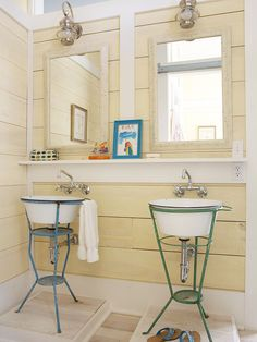 Do-It-Yourself Bathroom Sinks  One of the charming components about cottage-style decorating is that just about anything goes. A simplified, go-with-the-flow lifestyle encourages creativity in its decorating. In this beachy bathroom, enameled washbasins set in metal stands were cleverly repurposed as vanity sinks, while a simple shelf adds counter space.