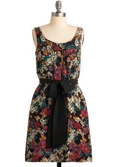 That's So Fresh Dress - Floral, Bows, Sheath / Shift, Sleeveless, Multi, Pleats, Casual, Summer, Fall, Black, Mid-length