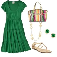 This is my favorite kind of outfit...comfy, cute dress and sandals.  Love it!