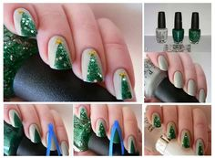 Step by step easy Christmas tree nail art design