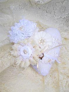 Ring Pillow, Bridal Ring Pillow, Ring Bearers Pillow, Wedding Pillow, Green Ring Pillow, Fabric Heart Pillow, Handmade Flowers, Heart Pillow by KMelvilleDesigns on Etsy