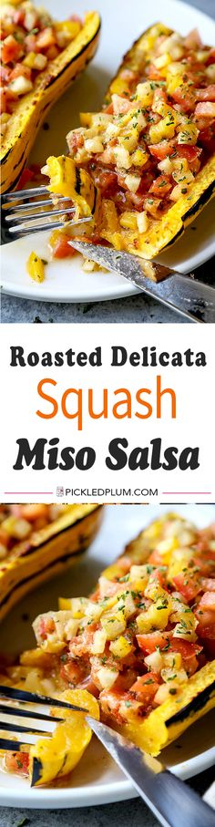 Roasted Delicata Squash With Miso Salsa - light and healthy. Delicious with fish, pasta or rice! vegan dinner recipes, plant based recipe, vegetarian recipe, baked squash, vegetable dinner healthy   pickledplum.com