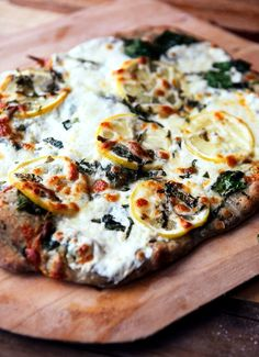 Lemon Basil Pizza with Spinach and Mozzarella