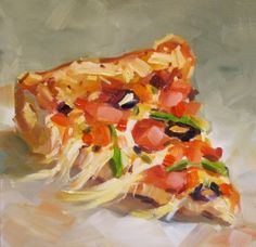 PIZZA BY TOM BROWN, painting by artist Tom Brown