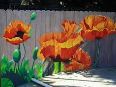 Poppies on a fence