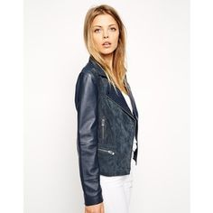 ASOS Biker Jacket In Suede And Leather