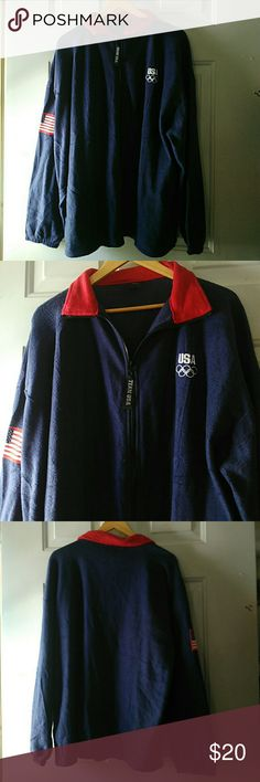 Team USA Zipper Fleece NWOT XXL Red white & Blue color zipper Fleece light jacket with USA flag patch on the sleeve & USA embroidered on the front.  I think it's men's sizing don't seem to have the usual form fitting of women's clothing. *I forgot to mention that (and it makes me chuckle cuz I've got a love of irony) This items Made In China lol. team USA Jackets & Coats Lightweight & Shirt Jackets