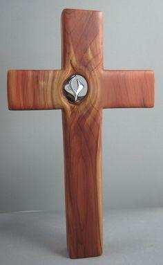 Handmade Wood Crosses With Sterling Symbols by Nancy Denmark, Jewelry Artist | CustomMade.com