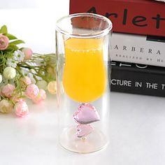 Amor Coração Duplo Design Cup paredes de vidro 100ml de vinho – BRL R$ 57,11