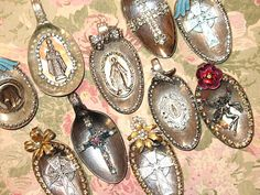 Altered spoons. I like this idea - make pendants after using the rest of the spoon to make a ring or bracelet.
