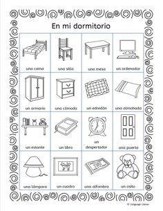 Spanish christmas winter verbs 6 printables and 24 for Dormitorio para colorear
