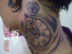 Realistic Pocket Watch With Key And Rose Tattoo On Side Rib By Danktat