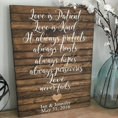 Love is Patient 1 Corinthians Planked Wood Sign - CoastalCraftyMama Small Wood Projects, Pallet Projects, Love Is Patient, Wood Plans, Wood Working For Beginners, Weathered Wood, Wood Wood, Wood Art, Pallet Signs