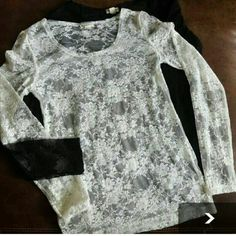 Two lace tops Two lace fitted tops, size medium. One is black and the other is white Zenana Outfitters Tops Tees - Long Sleeve