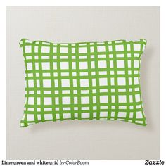 Lime green and white grid accent pillow Soft Pillows, Accent Pillows, Throw Pillows, Green Cushions, Green Home Decor, White Furniture, Decorative Cushions, Soft Fabrics, Office Decor