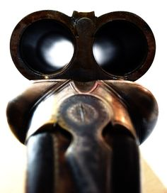 Down the barrel of a double barreled shotgun.