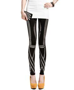 Black Skinny Punk Style Legging with Stud Embellish