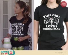 """Emily's 'This Girl Loves Christmas"""" tee on Pretty Little Liars. Outfit Details: http://wornontv.net/36594/ #PLL"""