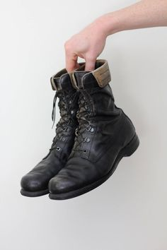 low priced 011d4 aa30a 70s Black Leather Lace Up Boots Size 9 Combat Military Work   Etsy Leather  Lace Up
