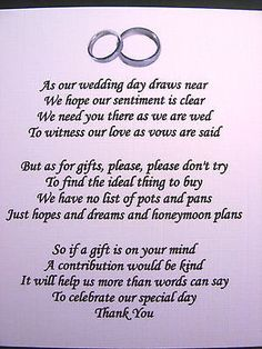 20 Wedding poems asking for money gifts not presents Ref No 4 in Cards & Invitations | eBay
