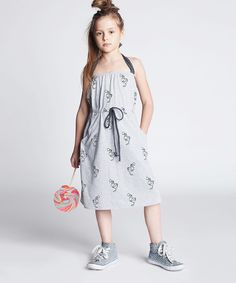 Dodo Gray Melange Scribble Halter Dress - Kids by Dodo #zulily #zulilyfinds