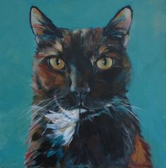 Tortoiseshell Cat Painting by Julie Dalton Gourgues
