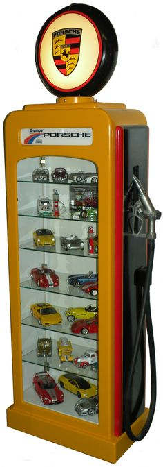 Gas Pump Display Cases intended for measurements 631 X 1800 Gas Pump Display Cabinet Plans - There are two sorts of shelf displays. Hot Wheels Storage, Car Storage, Old Gas Pumps, Vintage Gas Pumps, Display Boxes, Display Shelves, Display Cabinets, Ferrari, Porsche