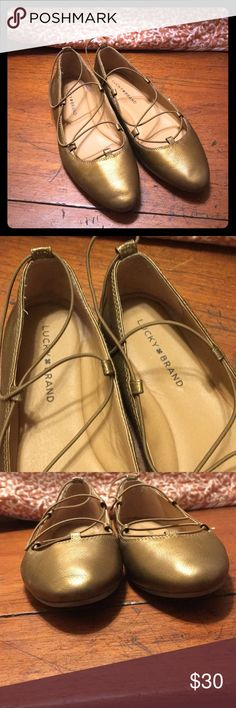 1b52e7b2b94 Shop Women s Lucky Brand Gold Brown size Flats   Loafers at a discounted  price at Poshmark.