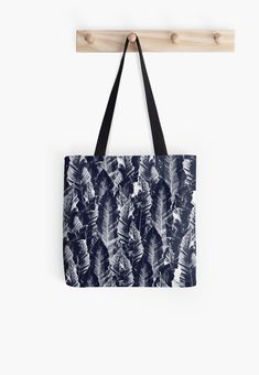 """Navy Blue Vibes #1 #tropical #foliage #decor #art"" Tote Bags by anitabellajantz 