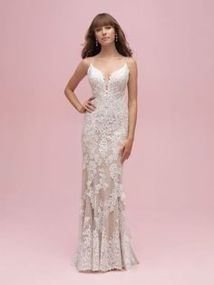 Lace fit and flare gown with spaghetti straps and long lace train available off-the-rack at Silk Bridal Studio. Elegant Wedding Dress, Wedding Gowns, Lace Wedding, Modest Wedding, Vestidos Off White, Allure Romance, Bridal Dresses, Bridesmaid Dresses, Bridesmaids