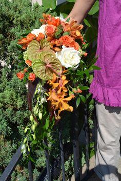 Citrus summer cascading bouquet
