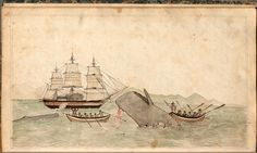 Drawing of a ship and whaling activity included in Acushnet (Whaler) logbook during voyage from Fairhaven MA to Pacific, July 1845 to December 1847. Keeper of log unknown, master of ship was William B. Rogers, Log 1234.