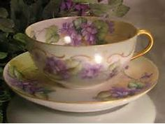 """FRENCH AFRICAN PURPLE VIOLETS TEA CUP & SAUCER"""" Antique Limoges from..."""