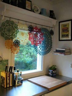 Uses For Old Lace Remnants & Crochet Doilies Creative ideas in crafts and upcycled, innovative, repurposed art and home decor.Creative ideas in crafts and upcycled, innovative, repurposed art and home decor. Decor, Lace Curtains, Repurposed Art, Boho Decor, Home Decor, Curtains, Sewing Room, Vintage Linens, Diy Window
