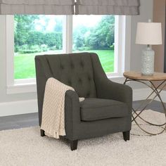Premium padding and an appealing linen-textured fabric make the CorLiving Dana Diamond Tufted Accent Chair a classic addition to your space. Accent Chairs For Sale, Blue Accent Chairs, Black Chairs, Living Room Seating, Living Room Chairs, Dining Chairs, Shabby Chic Furniture, Cool Furniture, Ikea Furniture