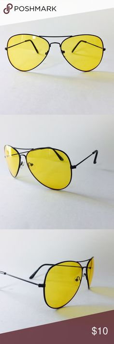 Yellow Tint Aviator Sunglasses Vintage 1970s Aviator Sunglasses | New with tags | Free Microfiber glasses pouch | Distributed in Los Angeles Accessories Sunglasses