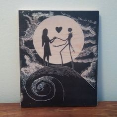 Nightmare Before Christmas - Jack Skellington and Sally - Handmade Wooden Sign